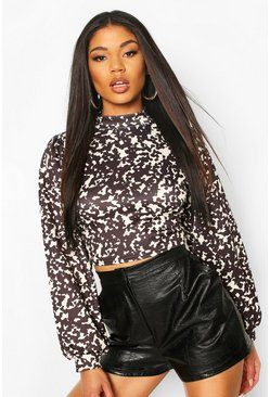 Black Leopard Print Scuba Long Sleeve Top
