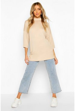 Drop Shoulder Oversized Tunic, Stone