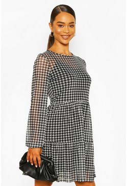 Dogtooth Mesh Smock Dress, Black