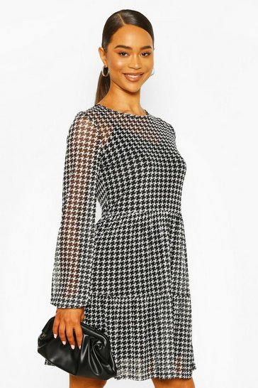 Black Dogtooth Mesh Smock Dress