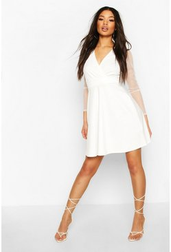 Dobby Mesh Wrap Skater Dress, Cream