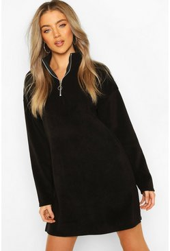 Black Fleece Funnel Zip Neck Sweat Dress