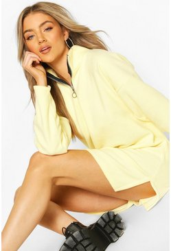 Fleece Funnel Zip Neck Sweat Dress, Lemon