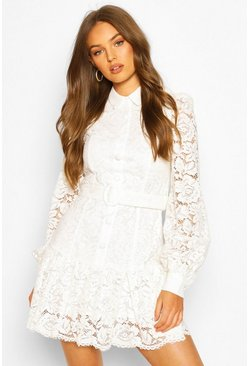 Lace Peplum Blouson Sleeve Belted Dress, Ivory