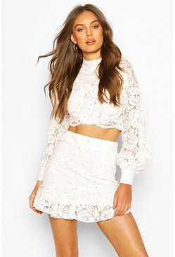 Lace Peplum Mini Skirt, Ivory