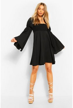Black Shirred Bust Flared Sleeve Dress