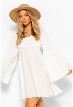 Ivory Shirred Bust Flared Sleeve Dress