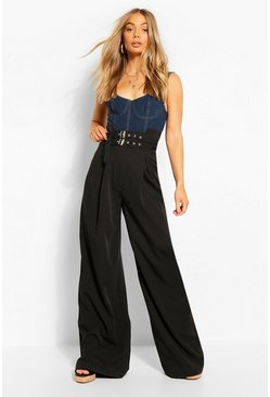 Black Double Buckle Wide Leg Pants