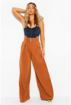 Camel Double Buckle Wide Leg Trouser