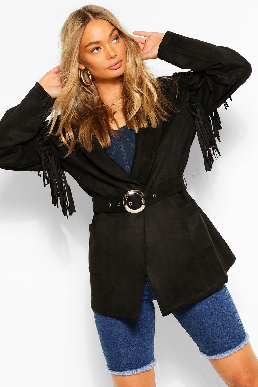 70s Jackets, Furs, Vests, Ponchos Womens Fringe Belted Suedette Jacket - Black - 12 $24.00 AT vintagedancer.com