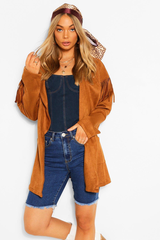 70s Jackets, Furs, Vests, Ponchos Womens Fringe Belted Suedette Jacket - Beige - 12 $24.00 AT vintagedancer.com