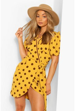 Mustard Polka Dot Puff Sleeve Wrap Dress