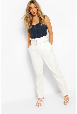 Ivory Denim D-Ring Belted Pants