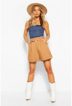 Spice Denim Belted D-Ring Shorts