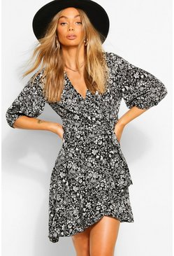 Black Puff Sleeve Floral Wrap Mini Dress