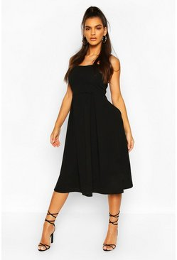 Black Scalloped Double Layer Skater Midi Dress