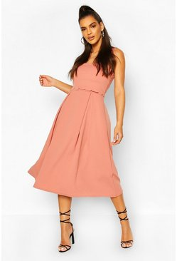 Scalloped Double Layer Skater Midi Dress, Rose