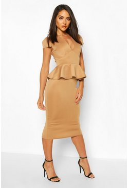 Camel Cap Sleeve Peplum Midi Dress