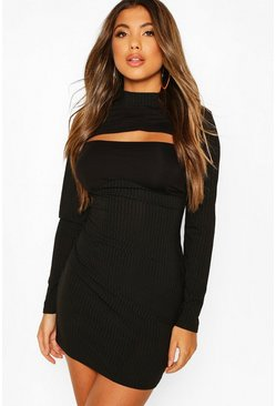 Black Ribbed High Neck Cut Out Mini Dress