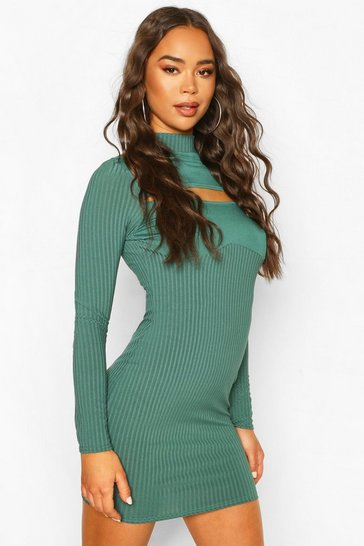Teal Ribbed High Neck Cut Out Mini Dress