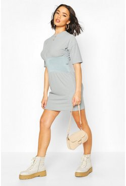 Grey Ribbed Panelled Waist Mini Dress