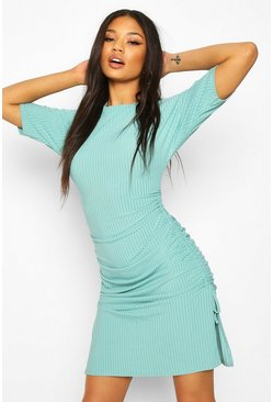 Turquoise Rib Adjustable Length Oversized T-shirt Dress