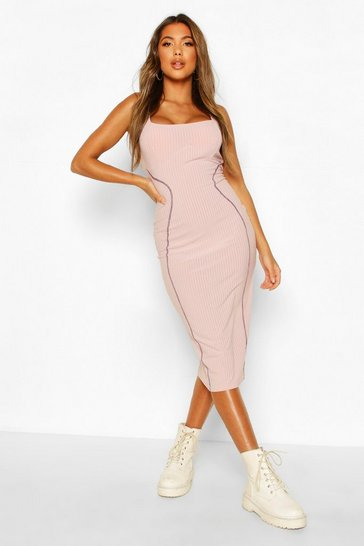 Lilac Contrast Stitch Panelled Midi Dress