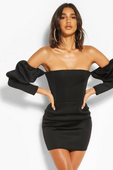 Black Puff Sleeve Bardot Mini Dress
