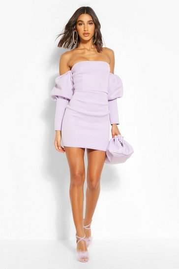 Lilac Puff Sleeve Bardot Mini Dress