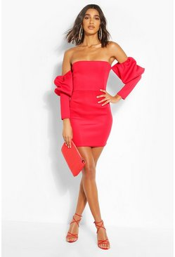 Red Puff Sleeve Bardot Mini Dress