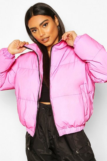 Pink Reflective Funnel Neck Padded Jacket