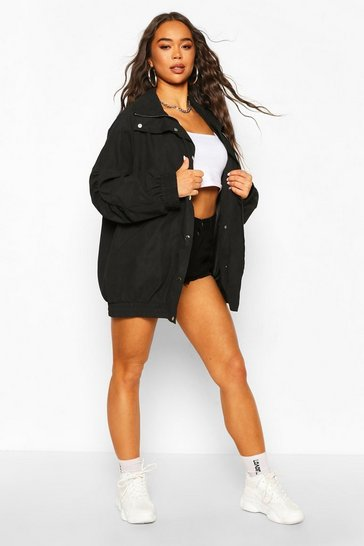 Black Peached Funnel Neck Oversized Windbreaker