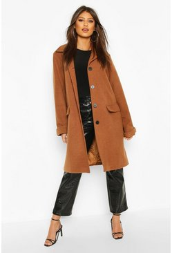 Button Through Wool Look Coat, Chocolate