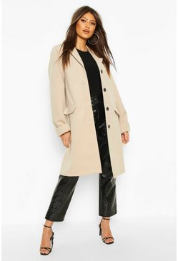 Stone Button Through Wool Look Coat