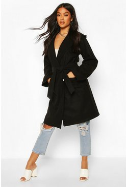 Hooded Belted Utility Pocket Wool Look Coat, Black