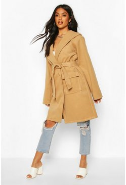 Hooded Belted Utility Pocket Wool Look Coat, Camel