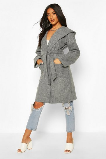 Grey Hooded Belted Utility Pocket Wool Look Coat