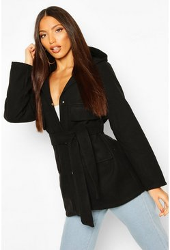 Pocket Belted Wool Look Hooded Coat, Black