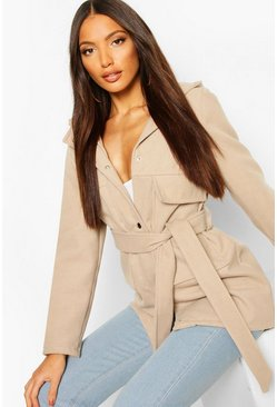 Pocket Belted Wool Look Hooded Coat, Stone