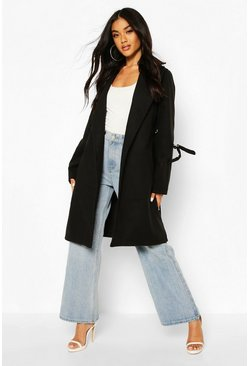 Black D-Ring Detail Tailored Wool Look Coat