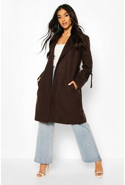 D-Ring Detail Tailored Wool Look Coat, Chocolate