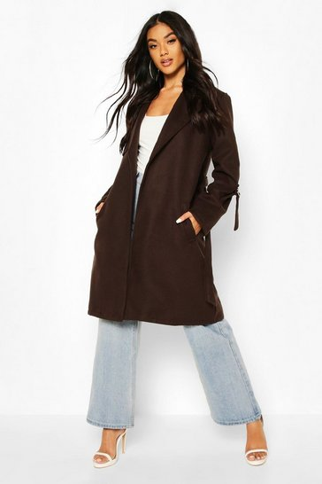 Chocolate D-Ring Detail Tailored Wool Look Coat