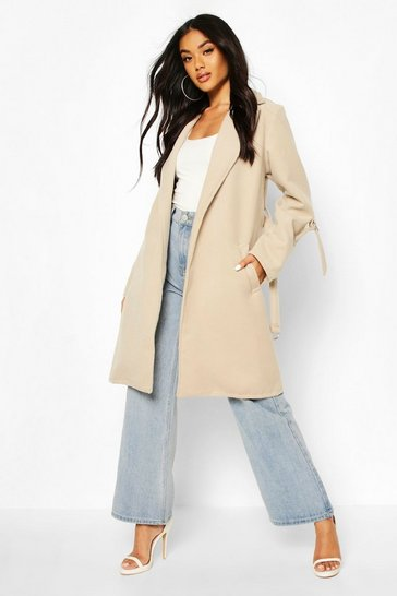 Stone D-Ring Detail Tailored Wool Look Coat