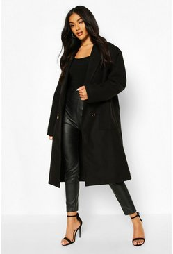 Oversized Wide Sleeve Wool Look Coat, Black
