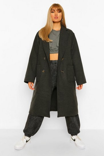 Charcoal Oversized Wide Sleeve Wool Look Coat