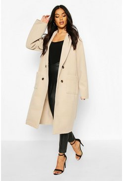 Oversized Wide Sleeve Wool Look Coat, Stone
