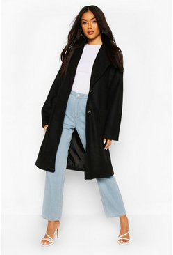 Brushed Wool Look Oversized Longline Coat, Black