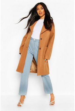 Camel Brushed Wool Look Oversized Longline Coat