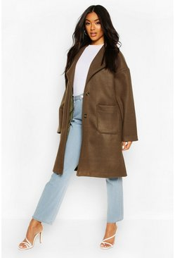 Brushed Wool Look Oversized Longline Coat, Olive