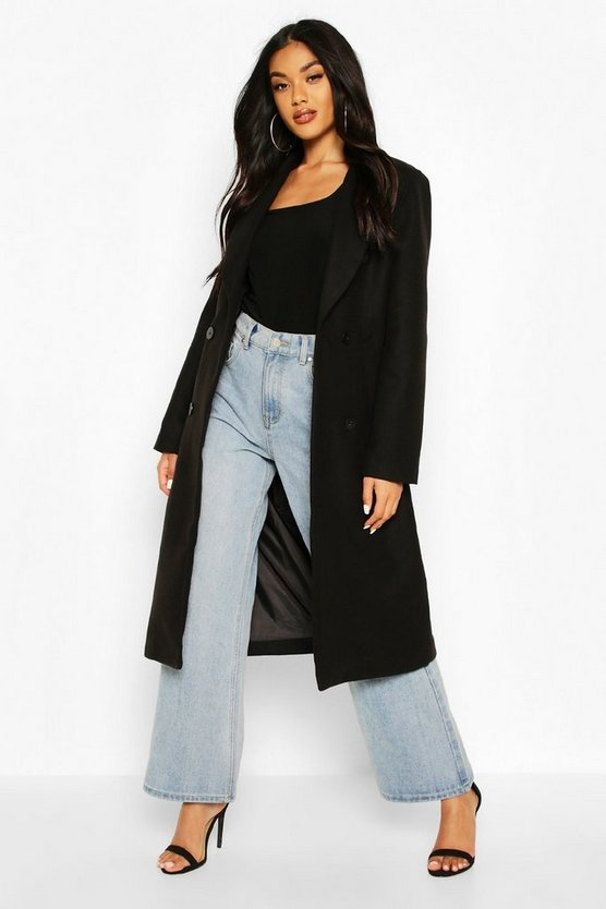Black Double Breasted Maxi Wool Look Coat